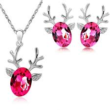 jewelry necklace earring sets images Reindeer crystal pendant fashion jewelry necklace and earring set jpg