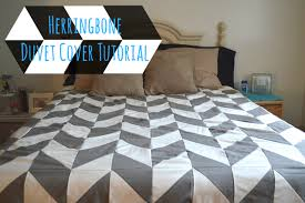 Making A Duvet Cover Sewing Tutorial Herringbone Duvet Cover Our Thrifty Ideas