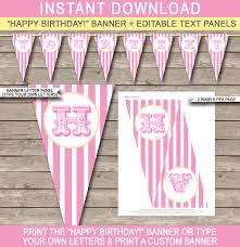 carnival banner template circus pink and yellow editable bunting