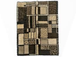 mid century rug scandinavian rya style shag in brown black beige