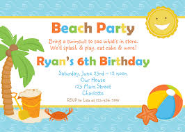 Card Party Invitation Beach Party Invitations Kawaiitheo Com