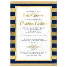 Bridal Invitation Cards Bridal Shower Invitation Navy Blue Gold Stripes Faux Glitter