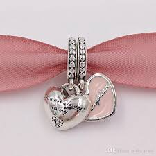 pandora style necklace silver images Online cheap mothers day 925 silver mother daughter hearts jpg