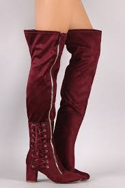 suede zipper corset lace up block heeled over the knee boots knee