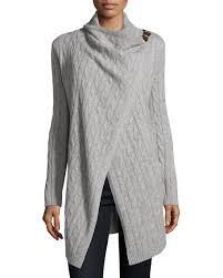Neiman Marcus Drapes Neiman Marcus Cashmere Clasp Drape Front Cardigan Heather Gray
