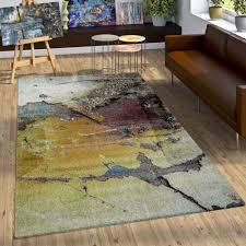 Schlafzimmer Bunt Einrichten Designer Teppich Bunte Abstrakte Muster Hoch Tief Optik Gelb Blau