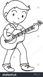 royalty free sketch of a boy playing guitar on white u2026 54095818