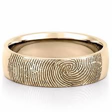 mens wedding bands gold fingerprint wedding band men s fingerprint on outside of wedding