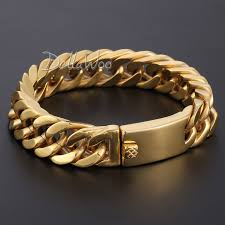 double gold bracelet images 14mm heavy mens boy chain cut rombo double curb link gold tone jpg