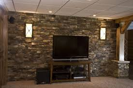 home interior accents decorations striking exposed brown stone wall for basement with