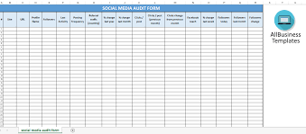 free social media spreadsheet audit templates at