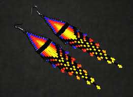 Native American Beaded Earrings Huichol Native American Seed Bead Earrings Native Beaded Earrings