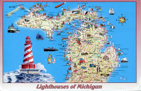 Cities In Michigan Map by Lighthouses In Michigan Map Michigan Map