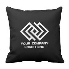 pick color your company logo throw pillow black or pick color