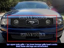 Black 2009 Mustang Fits 2005 2009 Ford Mustang V6 Pony Package Black Billet Grille