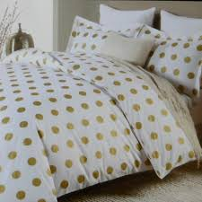 Polka Dot Bed Set Miller Large Polka Dot 3pc Duvet Set Gold On White