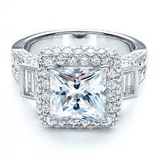 engagement rings with baguettes baguette side stones princess cut engagement ring vanna k 100037