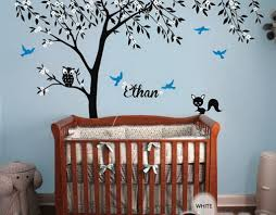 Wall Decals Baby Nursery Owl Fox Bird Blossom Personalize Name Custom Tree Wall Decals Baby