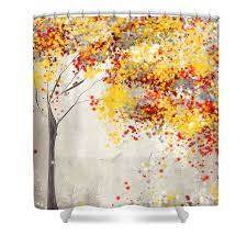 yellow gray and red shower curtain for sale by lourry legarde