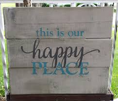 this is our happy place blue and grey pallet sign pallets