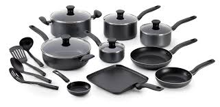black friday ceramic cookware t fal initiatives 18 piece nonstick inside and out cookware set gray