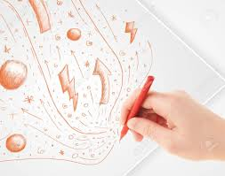 hand drawing abstract sketches on a plain white paper stock photo