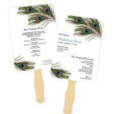 program fan peacock feathers wedding program fan template a j s prints