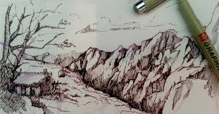 pen and ink drawing tutorials how to draw a mountain landscape