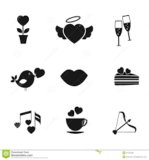 champagne silhouette set of love and romance icons stock vector image 41635396