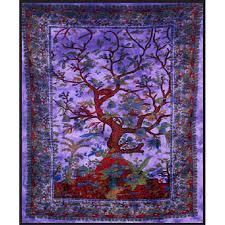 tree of life purple double tapestry 84 x 100 cotton wall hanging