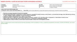 Resume Order Of Jobs Order Control Clerk Blood Bank Cv Work Experience