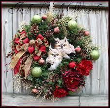 burgundy winter owls christmas wreath by irish u0027s wreaths