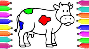 cow coloring pages for kids drawing animal for children learn