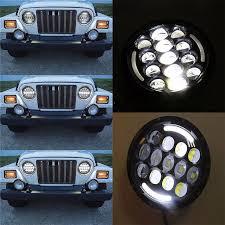 jeep wrangler blue headlights 2pcs 7inch 105w led headlight l drl turn signal jeep