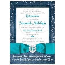 quinceañera invitation denim u0026 diamonds printed teal blue