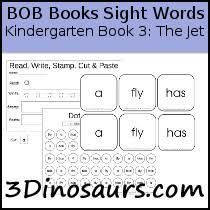 3 dinosaurs early reading printables bob books sight words