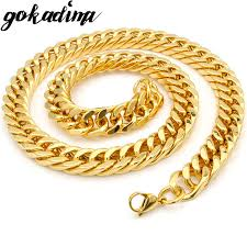 gokadima 2017 new arrivals jewellery mens gold color stainless
