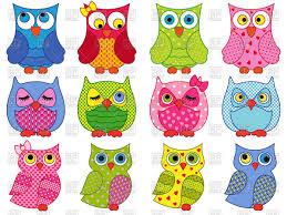 colourful cartoon owls vector image 66743 u2013 rfclipart