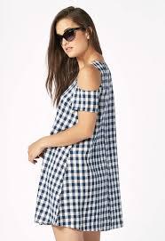 cold shoulder t shirt dress in blue gingham get great deals at