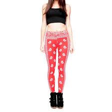 red patterned leggings robert matthew womens red bandana printed leggings apparel clothes