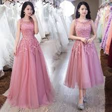 wedding evening dress pink appliques lace tulle evening dresses 2017 hot formal