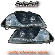 audi r8 headlights seat ibiza mk3 02 08 led black drl r8 style projector headlights