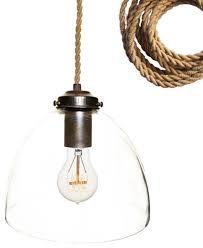 blown 8 glass pendant light rubbed bronze ship rope