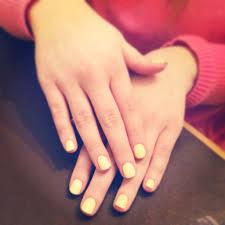 cnd shellac baby yellow nails
