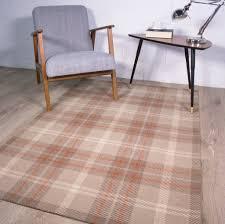 Brown Tartan Rug Harris Ginger Orange Tartan Checked Pattern 100 Wool Living Room