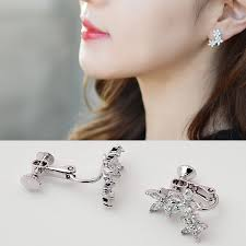 korean earings fashion jewelry flower earrings zircon leaf clip earrings for