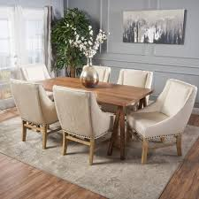 Noble House Dining Chairs Farmhouse 7 Piece Dining Set With Fabric Dining Chairs U2013 Noble