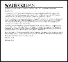 portfolio analyst cover letter