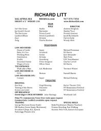 Actor Resume Special Skills Richard Litt U0027s Website Resume