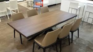Solid Walnut Dining Chairs by New In Showroom Solid Walnut Wood Dining Table And Dark Beige